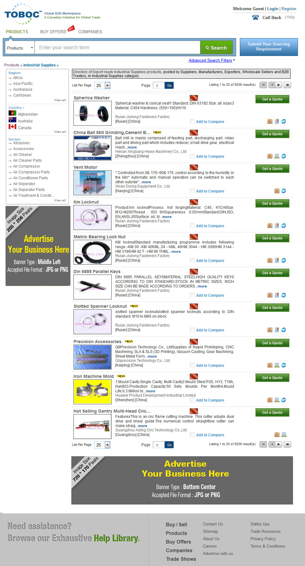 Product Search Results page